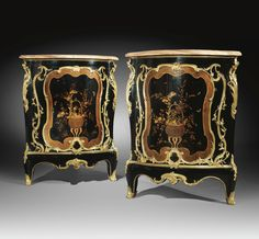 A pair of gilt-bronze-mounted serpentine vernis Martin lacquer encoignures attributed to BVRB (Bernard II Van Risen Burgh)<br>Louis XV, circa 1745 | lot | Sotheby's