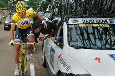 "Tour de France 2010 ""The bike of Fabian Cancellara gets checked by a team mechanic July 9 near the end of stage six. (PASCAL PAVANI/AFP/Getty Images"""