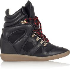 Etoile Isabel Marant Buck leather and suede wedge sneakers on shopstyle.com