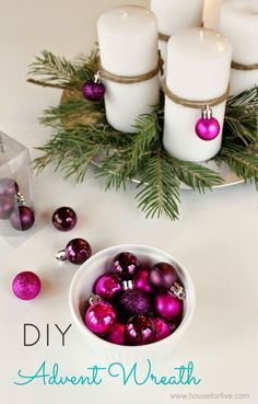 DIY Advent wreath ideas - this idea also might work with candles in jars filled ., : DIY Advent wreath ideas – this idea also might work with candles in jars filled …, Easy Christmas Decorations, Easy Christmas Crafts, Simple Christmas, Christmas Holidays, Christmas Wreaths, Advent Wreaths, Nordic Christmas, Modern Christmas, Christmas Balls
