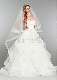 Herz-Ausschnitt Satin Prinzessin Tüll bodenlanges ärmelloses Brautkleider