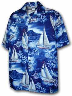 Tropical Sailing - Mens Hawaiian Aloha Shirt - Navy $39
