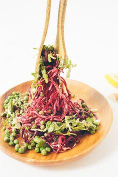 Beet Noodle, Pea and Arugula Salad with Lemon-Garlic Tahini Sauce