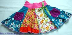 Bits 'N' Pieces by Kristin, Pockets Twirl Skirt, Size 5/6. $24.00, via Etsy.
