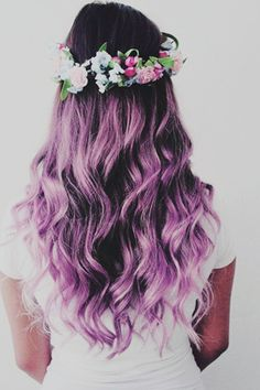 The Purple hair Color is the best and unique . In this Hair Color there is the best purple hair color with the Flowers Style. Cute Hair Colors, Pretty Hair Color, Beautiful Hair Color, Hair Color Pink, Hair Dye Colors, Purple Hair, Ombre Hair, Ombre Colour, Blonde Hair