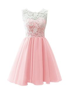 JY Women's Ruched Sleeveless Lace Short Party Dresses Evening Gowns #081 US 2 pink