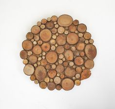 Rustic Circular Wood Tree Slice Centerpiece Decorative Wall Art Wooden Rounds…