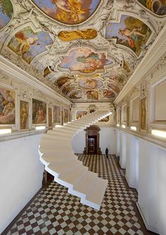 Beautiful Steps by Lang/Baumann - Among the installations in Lang/Baumann's Beautiful Steps project is a curved white staircase that hangs in the hall of Trautenfels Castle in Austria, contrasting with the richly coloured frescoes on the ceiling. Stairway To Heaven, White Staircase, Staircase Design, Floating Staircase, Architecture Details, Interior Architecture, Interior Design, Beautiful Architecture, Art Nouveau
