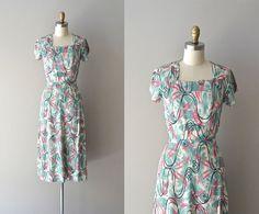 Astral Plane dress | vintage rayon 40s dress • 1940s printed rayon dress