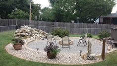 Paver patio with fire pit and waterfall to replace above ground pool