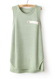 Bean Green Plain Round Neck Sleeveless Knit Sweater