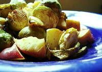 super yummy brussels sprouts recipe. they sort of caramelize in the balsamic so they're perfectly bittersweet.