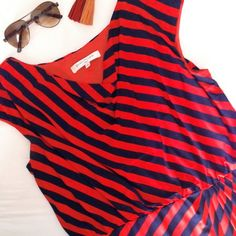 evan picone dress Gorgeous red and navy asymmetrical striped dress by Evan Picone. Cowl neck with cap sleeves. Pencil cut skirt and gathering at the waist for flattering draping. Worn once and in like new condition. Size 14. Evan Picone Dresses