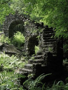 Madame Sherri's Castle-Chesterfield, New Hampshire. The site had once been the location of a luxurious home, built in 1931 by Madame Antoinette Sherri. Though destroyed by fire in 1962, remnants of the extravagant home still remain.  The most striking feature of the ruins is an arched staircase, which breaks free from the forest floor and reaches upward to nowhere.