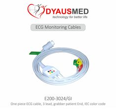 One piece ECG cable, 3 lead, grabber patient End, IEC color  code (E200-3024/GI)  scorpia sales & service carnival 2015