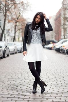 Black Tights Fashion:White-Skirt