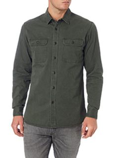 Perfect for layering over your seasonal looks, this khaki overshirt is crafted purely in natural cotton. Pair with a cotton crew neck tee and denim jeans for effortless off-duty style. Khaki herringbone overshirt Pure cotton Button fastenings Chest pockets Herringbone twill Model's height is 6'2