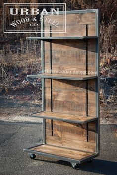 This industrial style shelving unit is the perfect piece to display merchandise, books, or just about anything else. This tough display is made from distressed reclaimed pine, waxed raw steel banding, Metal Furniture, Industrial Furniture, Vintage Industrial, Industrial Style, Diy Furniture, Furniture Plans, Industrial Living, Industrial Farmhouse, Diy Industrial Bookshelf
