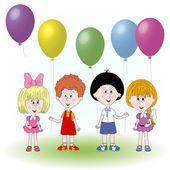 Смешные дети символов с шарами на белом фоне — стоковый вектор #75278393
