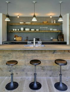 Bar stools for kitchen eating area.