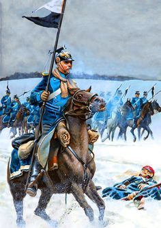 Prussian uhlans on the march in winter, Franco-Prussian War
