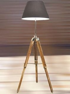 NAUTICALMART Two Fold Vintage Wooden Lamp Stand Adjustable Teak Tripod Lamp stand