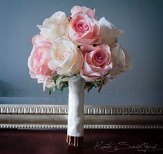 Ivory and Blush Pink Rose Bouquet  Rose Wedding by KateSaidYes, $110.00