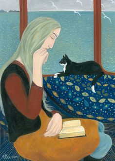 'In The Window Seat' By Artist Dee Nickerson. Blank Art Cards By Green Pebble.