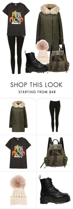 """""""studio"""" by needlework ❤ liked on Polyvore featuring Maje, Topshop, MadeWorn, Burberry, Inverni and Dr. Martens"""
