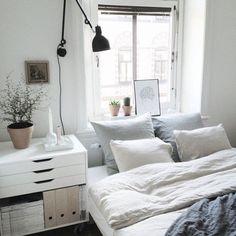bedroom, black, boho, comfy, cozy, cute, floral, ikea, lights, plants, room, vogue, white