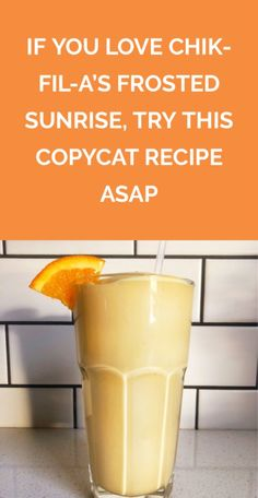 If You Love Chick-fil-A s Frosted Sunrise Try This Copycat Recipe Immediately The frosty drink is the fast food chain s seasonal spin on its cult classic Frosted Lemonade Here s how to make it with just two ingredients Smoothies, Smoothie Drinks, Frozen Lemonade, Frozen Drinks, Frozen Desserts, Milkshake Recipes, Smoothie Recipes, Milkshakes, Frosty Recipe
