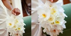 bracelet bouquet of phalaenopsis, roses, and gladiolas florets.