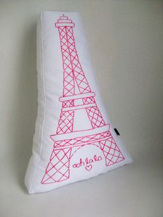 Hand Embroidered Paris Pillow  Eiffel Tower  French by kmariemarsh, $40.00