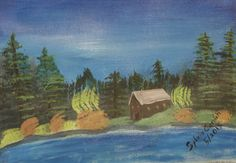 Cabin in the Woods, 11X14, acrylic on canvas