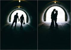 Silhouettes, couple, engagement photos, tunnel, romantic