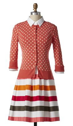 Coral Polka Dot Cardigan with a Colorful Striped Skirt Cute Dress Outfits, Cute Dresses, Cool Outfits, Dresses For Work, Modest Proposal, Burlington Coat Factory, Jessica Day, Polka Dot Cardigan, I Dress