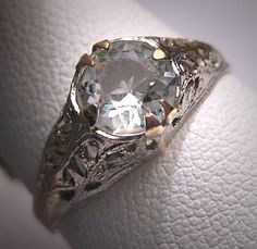 Antique White Sapphire Wedding Ring Vintage by AawsombleiJewelry, $395.00