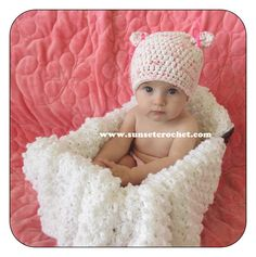 Little Kitty Bows Beanie Crochet Hat Pattern by SunsetCrochet
