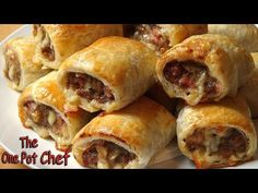 Cheesy Beef and Bacon Sausage Rolls from The One Pot Chef