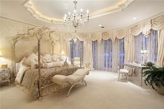 Million Dollar Bedrooms | Carpet, Crown molding, Traditional, Chandelier over the top bedroom
