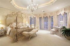 Million Dollar Bedrooms   Carpet, Crown molding, Traditional, Chandelier over the top bedroom