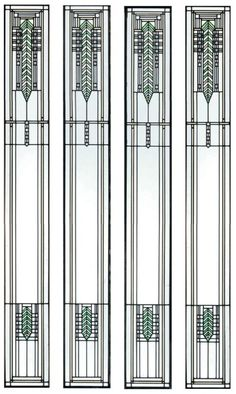 Frank Lloyd Wright: Giannini & Hilgart, design 1902. Stained Glass Windows for Brinsmaid House.