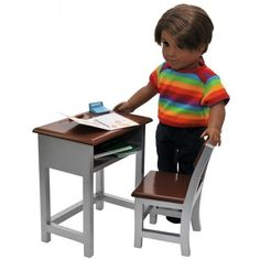 Wooden Modern School Desk & Chair and Storage Shelf Plush School Supply Accessories Sized For 18 Inch American Girl Dolls