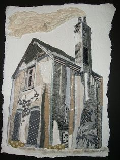 Tall House machine embroidery on paper by Steph Littlechild, Hertfordshire, England House Quilts, Fabric Houses, Textile Fiber Art, Textile Artists, Kitsch, A Level Textiles, Creative Textiles, Textiles Techniques, A Level Art