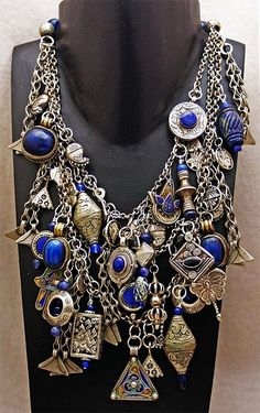 Adorned in lapis! Necklace by Anna Singer. Vintage Travel Memories Necklace, with souvenirs/treasures sourced from a number of Asian and African countries. Tribal Jewelry, Boho Jewelry, Vintage Jewelry, Jewelry Accessories, Handmade Jewelry, Jewelry Design, Fashion Jewelry, Fashion Necklace, India Jewelry