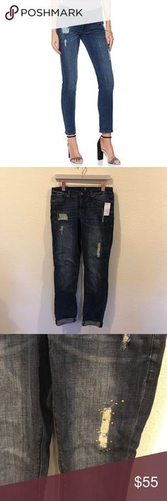 NWT By Giuliani studded distressed slim jeans New! From Fashion and Frills blog. No trades. By Giuliana Jeans Straight Leg