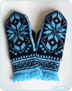 Mittens with Norwegian snowflake Pattern: my own Materials: Taiga classic Siberia merino wool, black color, grey color and sky blue color;