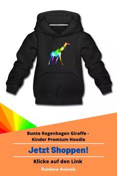 Kaufe dir jetzt diesen Hoodie für deine Kinder. Lass dir dieses und weitere Tier-Zeichnungen auf deine Kinder-Mode drucken   Schau jetzt in unserem Shop vorbei! Klicke jetzt auf den Link! #Hoodie #Kindermode #Stile #Kinderstile #Spreadshirt #Giraffe #Rainbowanimals #Mode