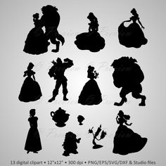 """Buy 2 Get 1 Free! Digital Clipart Silhouettes """"Beauty And The Beast"""" Disney characters, princess, images png/eps/svg/dxf and studio files by PeppyPapers on Etsy"""