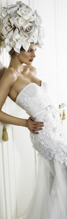 White Chic, White Gowns, Shades Of White, White Fashion, Floral Fashion, Bridal Boutique, Wedding Gowns, Glamour, Formal Dresses
